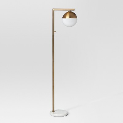 Geneva Single Glass Globe Floor Lamp Brass Includes Energy Efficient Light Bulb - Project 62™