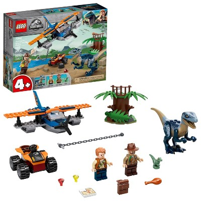 LEGO Jurassic World Velociraptor: Biplane Rescue Mission Dinosaur Toy for Preschool Kids 75942