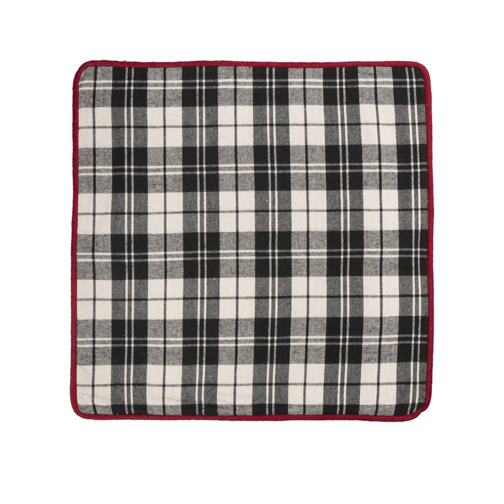 "Image of ""18"""" Plaid Fabric Pillow Cover Black and White - Glitzhome"""