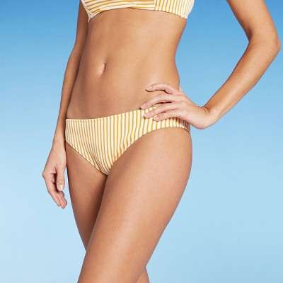 Women's Ribbed Bikini Bottom - Shade & Shore™ Spiced Yellow & White Stripe