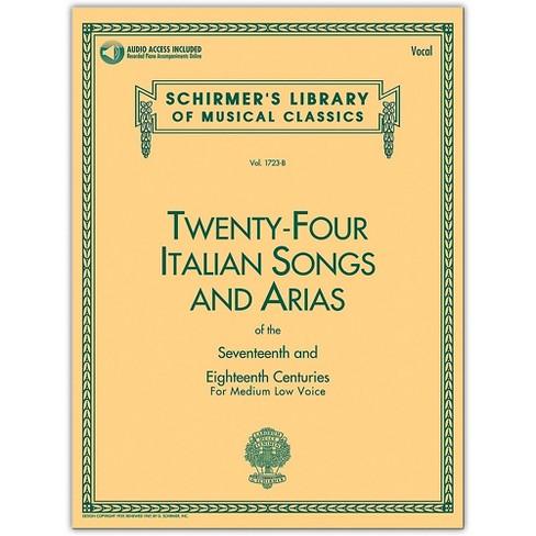G. Schirmer 24 Italian Songs & Arias Medium Low Book/Online Audio - image 1 of 1