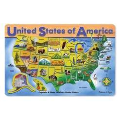 Melissa & Doug USA Map Wooden Puzzle 27pc