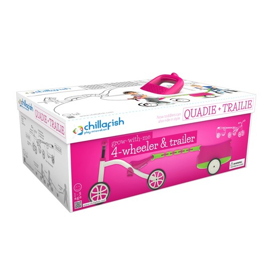 Chillafish Kid's Quadie Grow-With-Me Ride On Bike - Pink, Kids Unisex image number null
