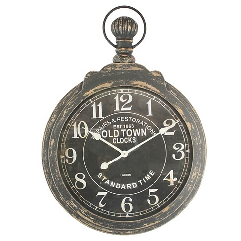 Pocket Watch Wall Clock Distressed Iron - Yosemite Home Decor® - image 1 of 2