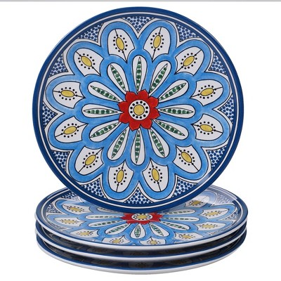 9  4pk Earthenware Tangier Salad Plates Blue - Certified International