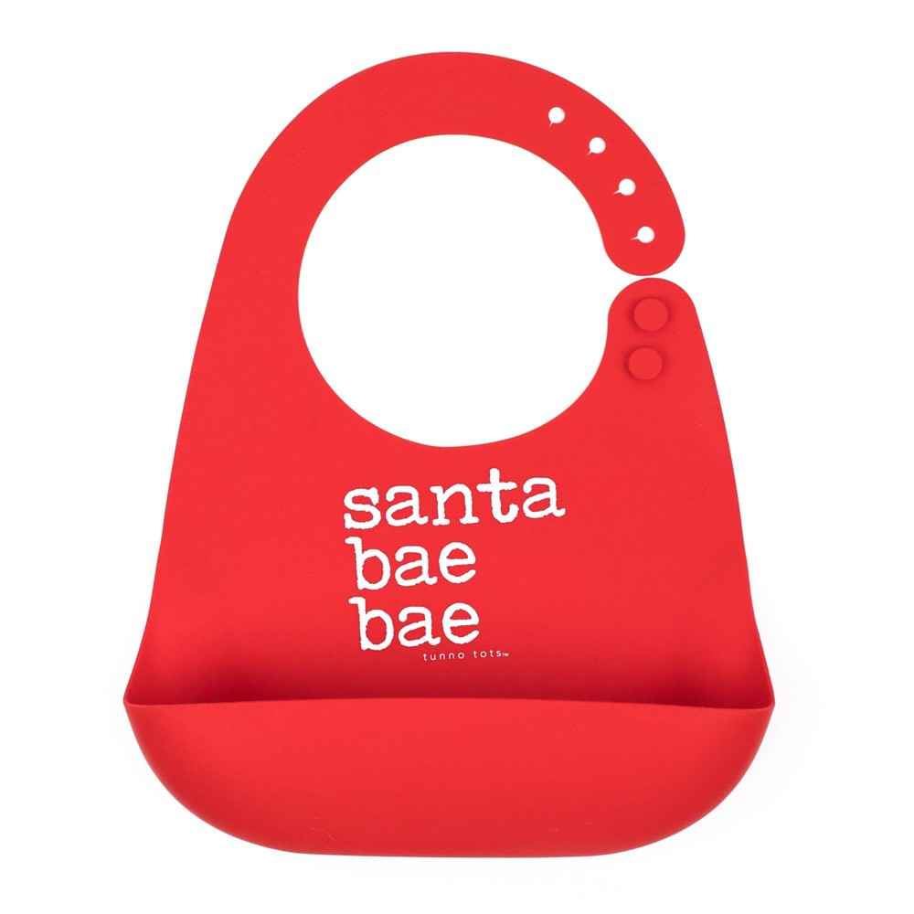 Image of Tunno Tots Silicone Bib - Santa Bae, Red