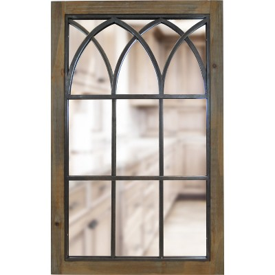 "37.5"" x 24"" Grandview Arched Window Mirror Brown - FirsTime"