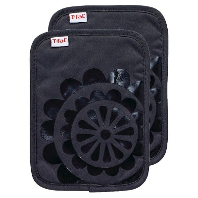 Charcoal/Dark Gray Medallion Pot Holder 2 Pack (6.75 x9 )T-Fal