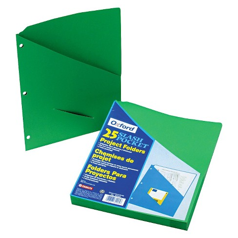 Pendaflex® Essentials™ Essentials Slash Pocket Project Folders, 3 Holes, Letter, Green, 25/Pack - image 1 of 1