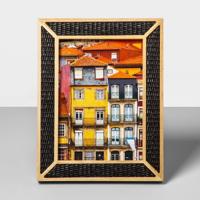 5  x 7  Natural Wood Overlay Frame with Woven Bamboo Black - Opalhouse™