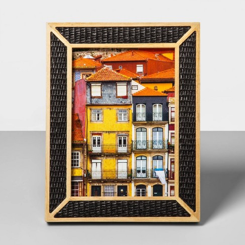 5 X 7 Natural Wood Overlay Frame With Woven Bamboo Black Opalhouse