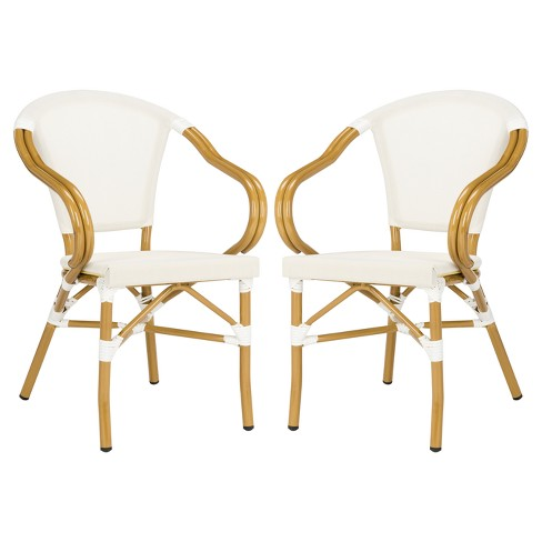 Phenomenal Karine 2Pk Metal Patio Stacking Arm Chair Beige Safavieh Dailytribune Chair Design For Home Dailytribuneorg