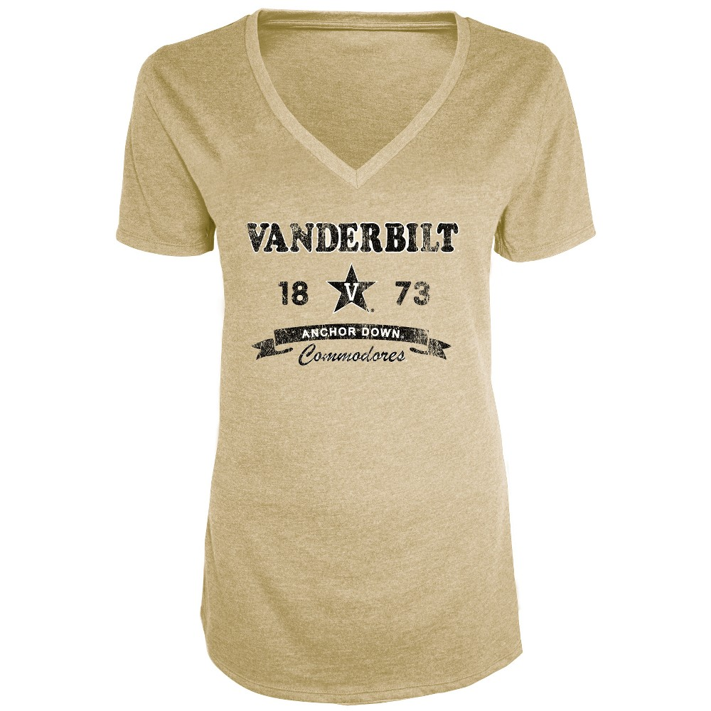Vanderbilt Commodores Women's Short Sleeve Heathered V-Neck T-Shirt - L, Multicolored