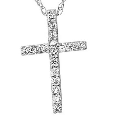 "Pompeii3 1/10ct Diamond Cross Pendant 10K White Gold 1/2"" Tall"