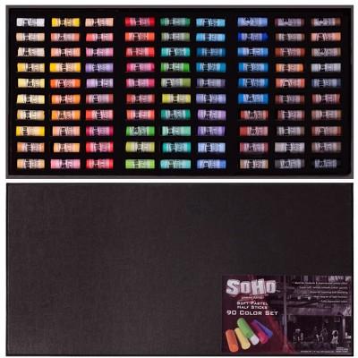 SoHo Urban Artist Soft Pastel Half Stick Pastel Sets Deluxe Travel Storage Box, Assorted Colors