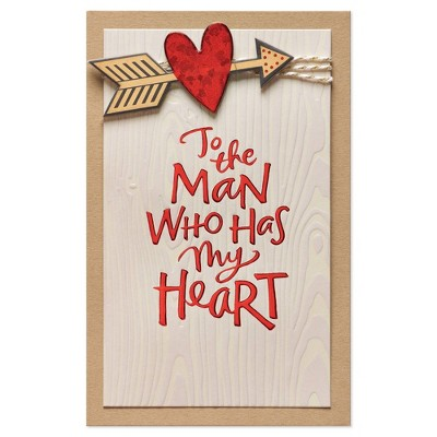 """Man Who Has My Heart"" Valentine's Day Card with Foil"