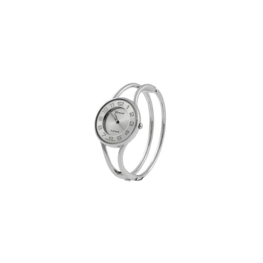 Geneva Platinum Polished Bangle Women's Watch - Silver
