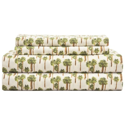 Hotel Coastal Microfiber Print Sheet Sets Palm Tree (Queen)Ivory - Elite Home Products