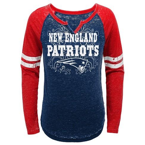 10caa26c994 NFL New England Patriots Girls' Fashion Team Alt Color Burnout Long Sleeve  T-Shirt