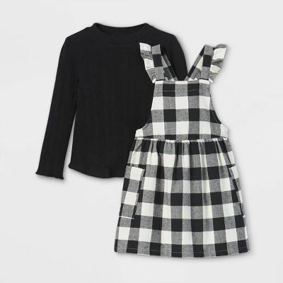 Toddler Girls' Rib Mock Neck Long Sleeve Top & Buffalo Check Skirtall Set - Cat & Jack™