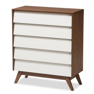 Hildon Mid - Century Modern Wood 5 - Drawer Storage Chest - Brown - Baxton Studio