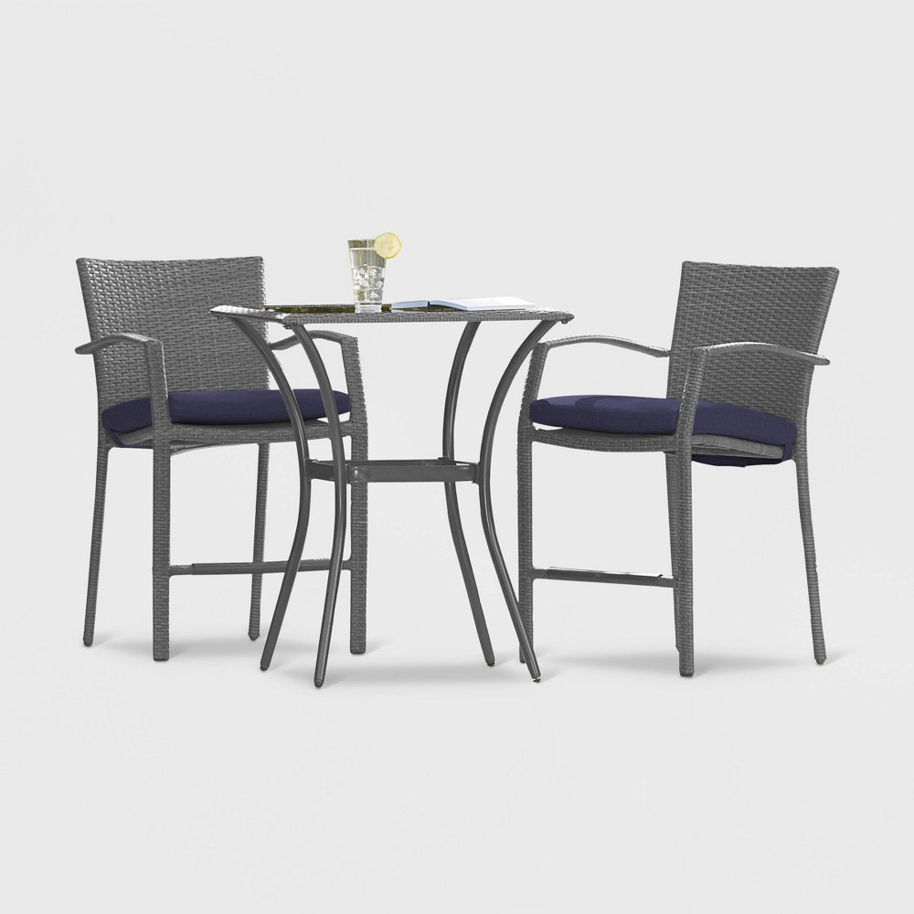 Lakewood Ranch 3pc High Top Patio Bistro Set - Cosco, Gray & Navy