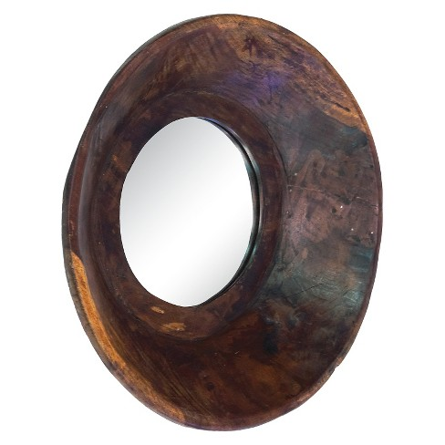 Round Bowl Decorative Wall Mirror Walnut - Go Home - image 1 of 1