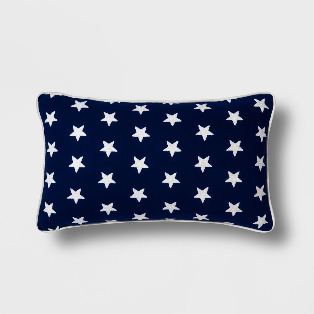 Americana Stars Lumbar Throw Pillow Navy/White (Blue/White) - Threshold