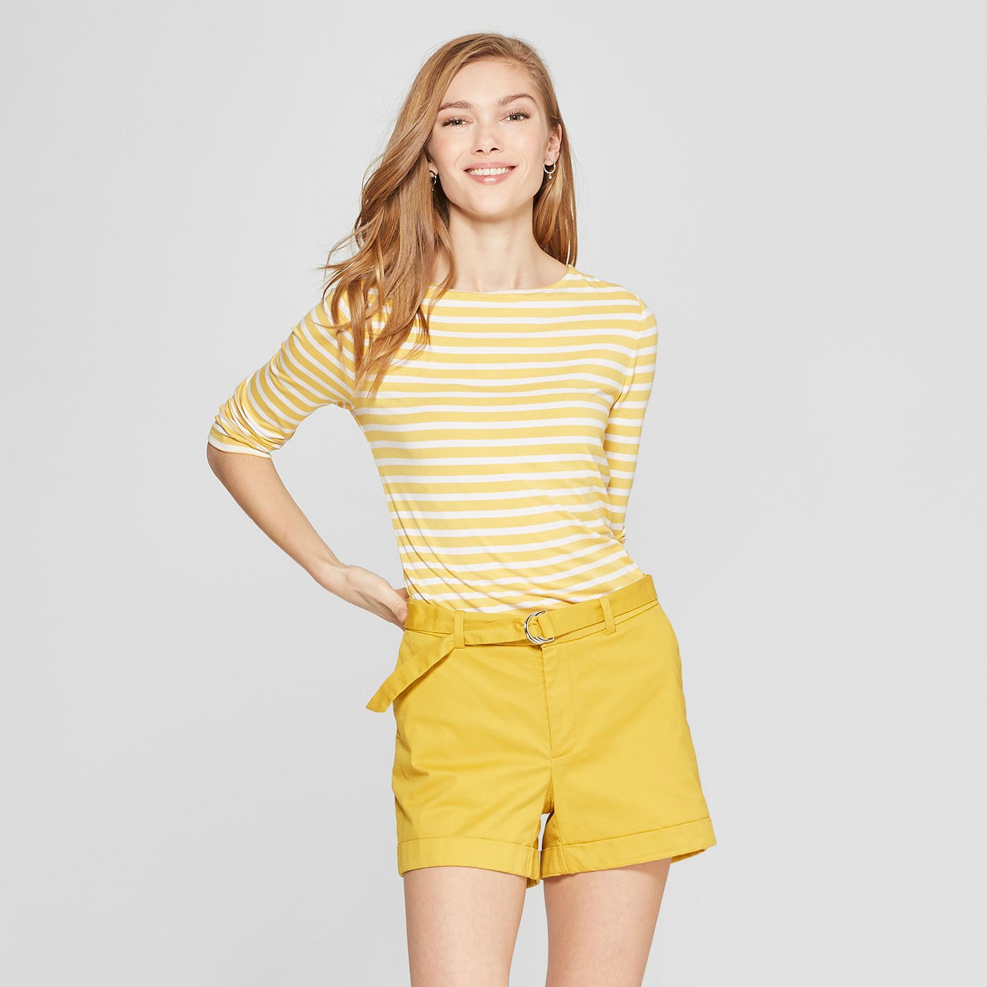 Women's Yellow Striped 3/4 Sleeve Clean Boat Neck T-Shirt - Anthropologie