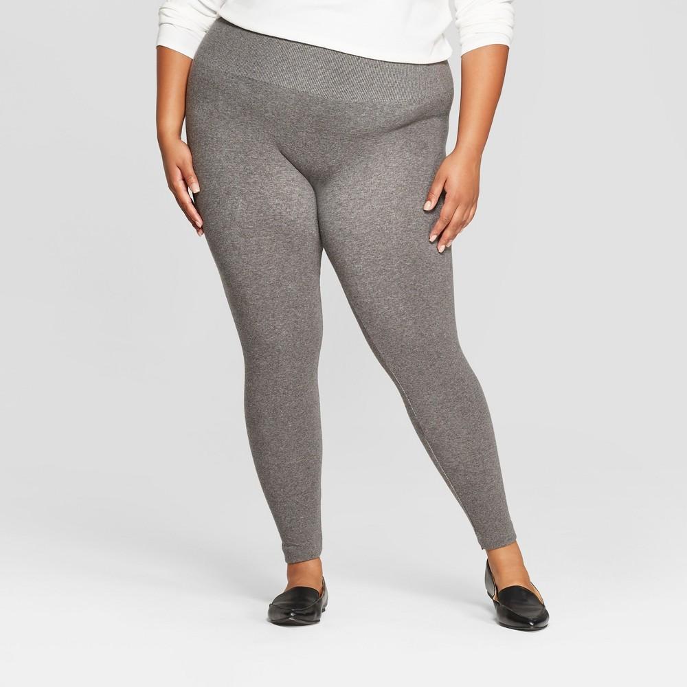 Women's Seamless Fleece Lined Leggings - A New Day Heather Gray 1X