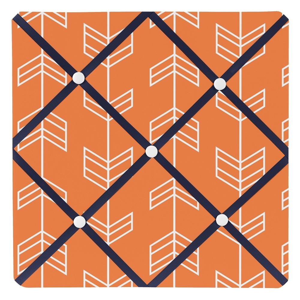 Orange and Navy Blue Arrow Photo Memo Board (13x13) - Sweet Jojo Designs