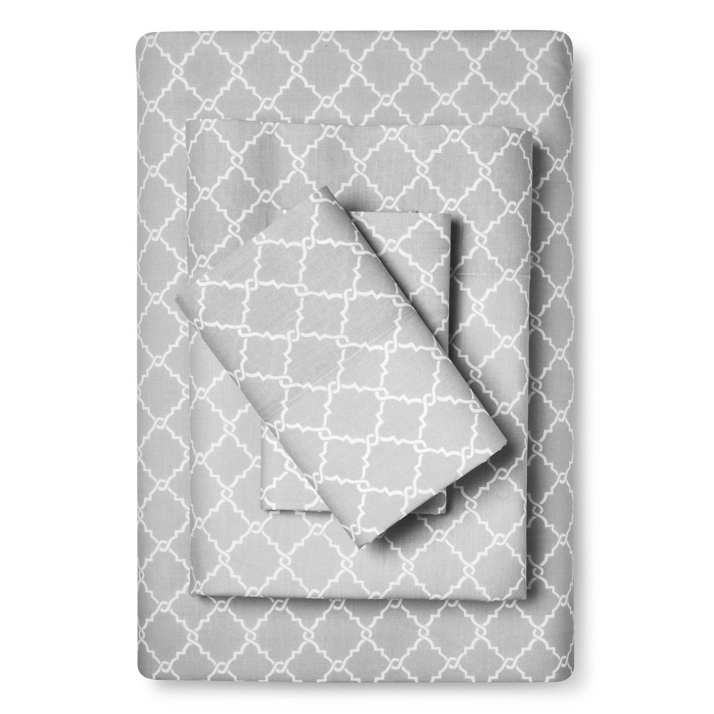 King Fretwork Geometric Printed Cotton Sheet Set Gray