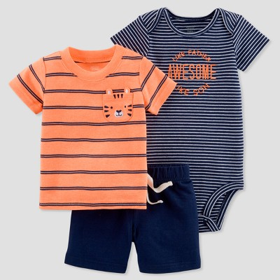 Baby Boys' 3pc Tiger Diaper Cover Set - Just One You® made by carter's Orange/Navy 6M