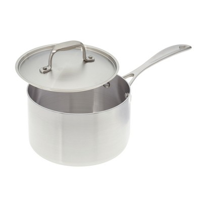 American Kitchen Cookware Stainless Steel 2 Quart Covered Saucepan with Steamer Insert