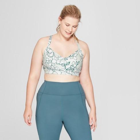 e978b878b1da6 Women s Plus Size Comfort Floral Print Sports Bra - JoyLab™ Mediterranean  Blue Cool Mint Print 1X