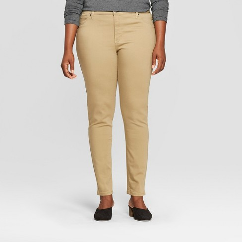 Women's Plus Size Mid-Rise Jeggings - Universal Thread™ Khaki - image 1 of 3