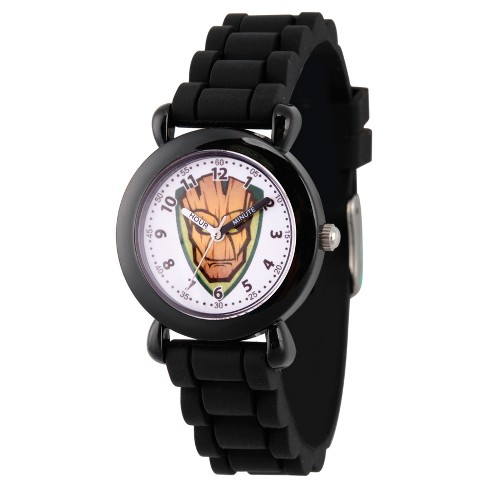 Boys' Marvel® Guardians Of The Galaxy Evergreen Groot Plastic Time Teacher Watch - Black - image 1 of 1