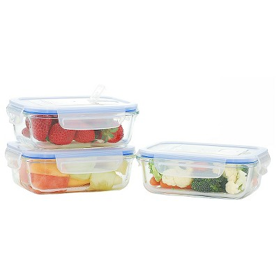 Kinetic GoGreen Elements Glasslock 6-Piece Rectangular Oven Safe Glass Food Storage Container Set with Vented Lid, 22 oz