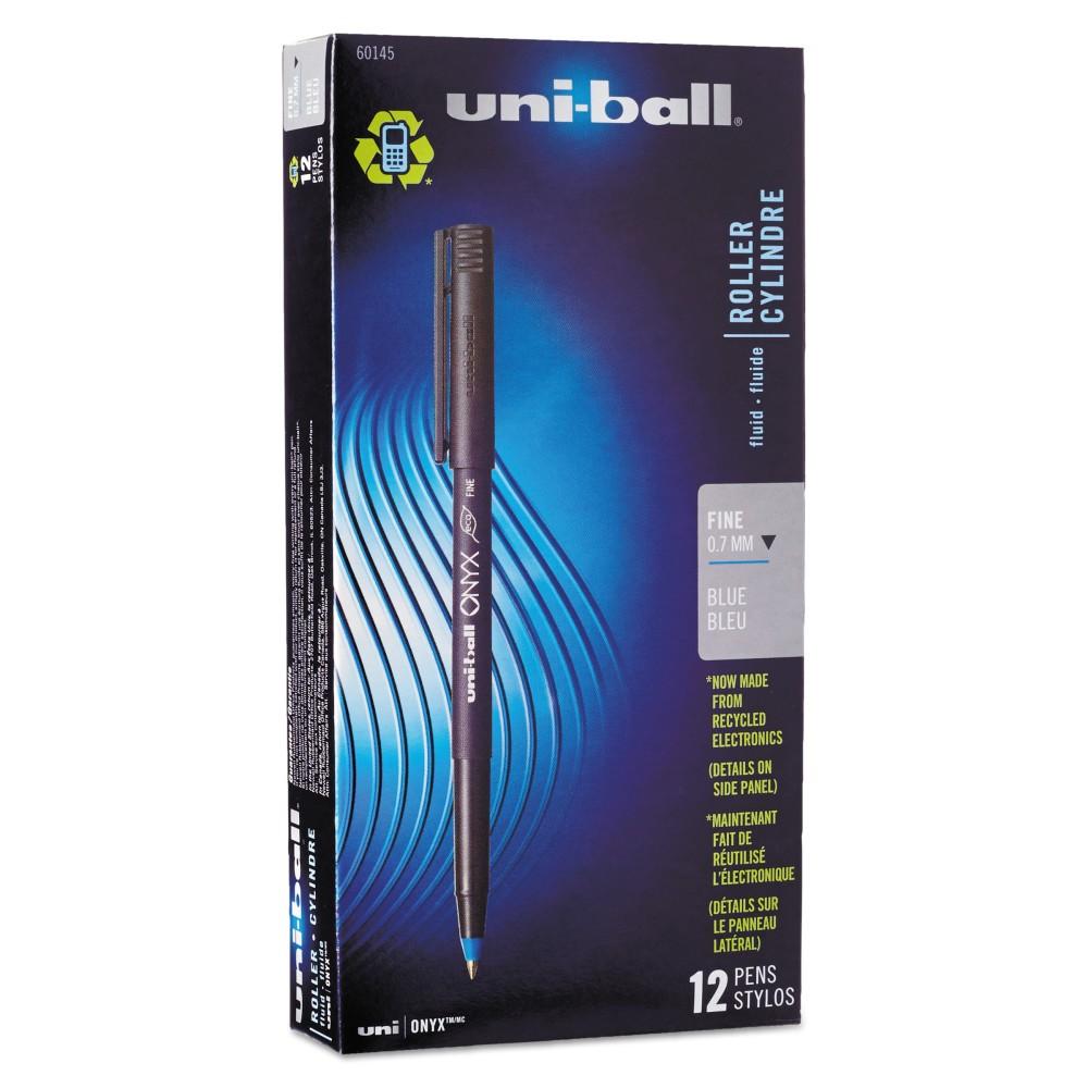 Image of uni-ball Onyx 2pk 12ct Roller Ball Dye-Based Pen Blue, Blue Black