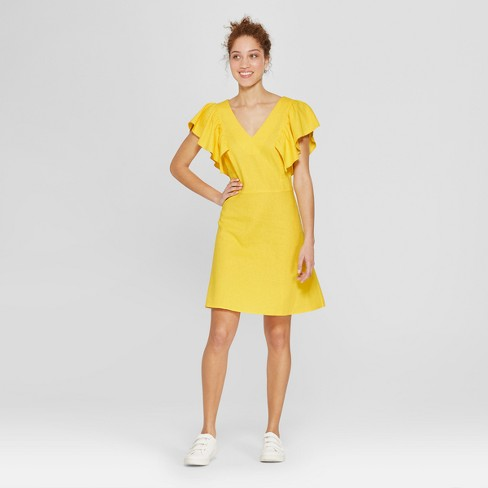 af3ef4d39ec Women s Ruffle Sleeve Shift Dress - A New Day™ Yellow   Target