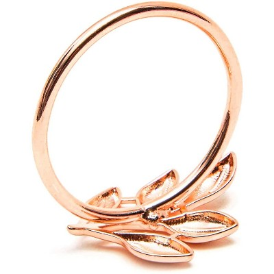 Set of 12 Metal Leaf Rose Gold Napkin Rings Holder for Dinner Table Wedding Event, 1.8 inches