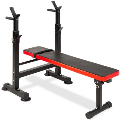Best Choice Products Adjustable Folding Fitness Barbell Rack & Weight Bench for Home Gym, Strength Training - Black/Red