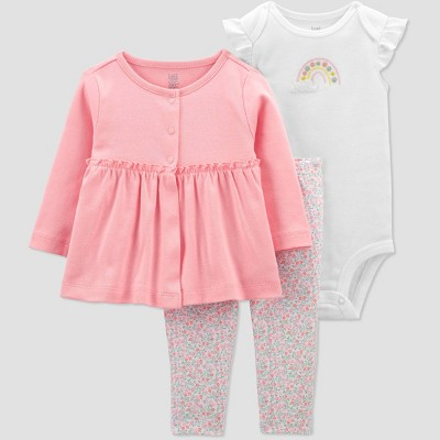 Baby Girls' 3pc Rainbow Top and Bottom Set with Cardigan - Just One You® made by carter's Pink/White Newborn