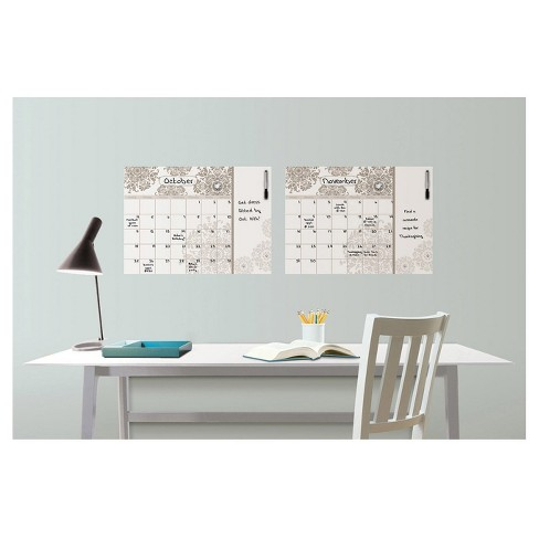 Wall Pops! ® Dry Erase Calendar Decal with Notes - Taupe Medallions - image 1 of 2