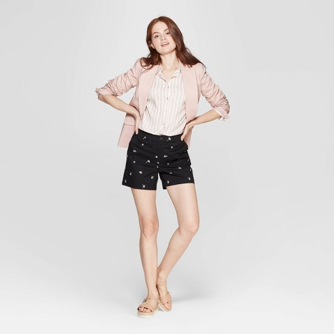 bd9d6380 Women's Floral Print High-Rise Chino Shorts - A New Day™ Black : Target