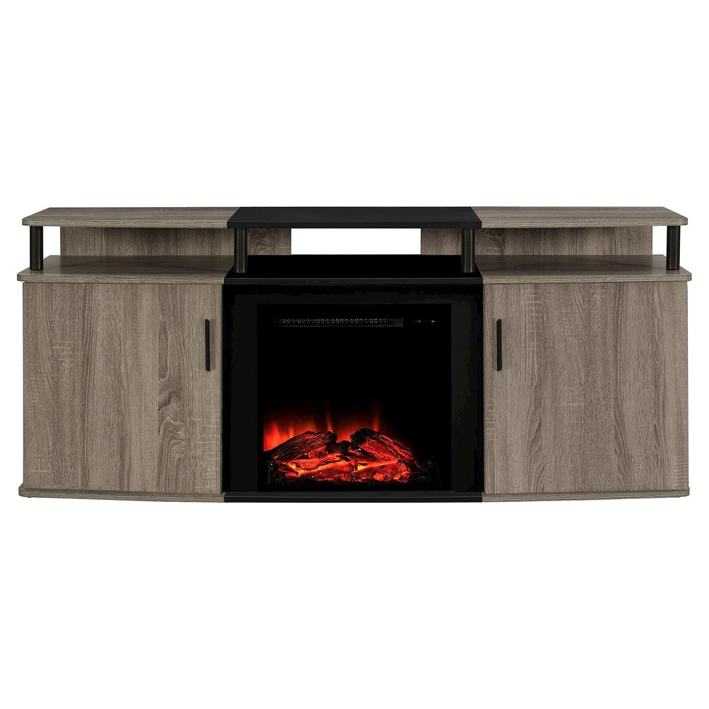 Kimmel Electric Fireplace TV Console for TVs up to 70 Wide - Distressed Brown Oak - Room & Joy, Black/Rustic Oak