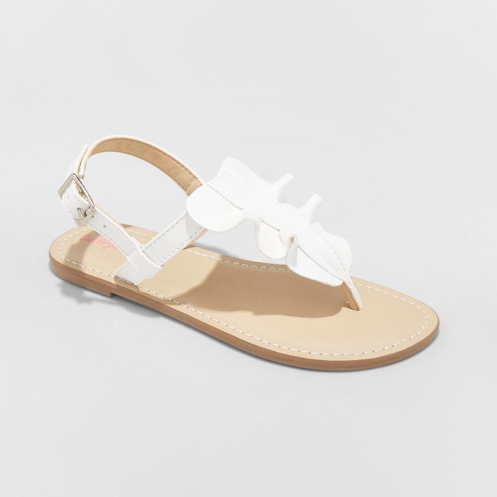 Girls' Naomi Ruffle Thong Sandals - Cat & Jack White 1