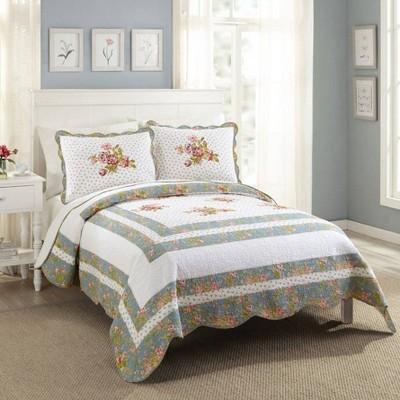 Modern Heirloom Full/Queen  Loretta Quilt Set White/Blue
