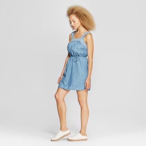 428d7ef52a9 Women's Embroidered Denim Sundress - Universal Thread™ Light Indigo S. Shop  all Universal Thread