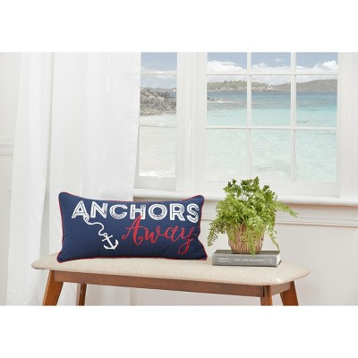 """C&F Home 12"""" x 24"""" Anchors Away Nautical Embroidered Pillow"""